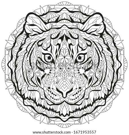 Zentangle tiger head with mandala. Hand drawn decorative vector illustration for coloring Stock photo © Natalia_1947