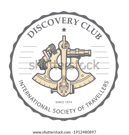 Sextant emblem for discovery club - navigation astrolabe logo, v Stock photo © gomixer
