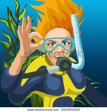 эскиз плакат счастливым женщину Diver стороны Сток-фото © Lady-Luck