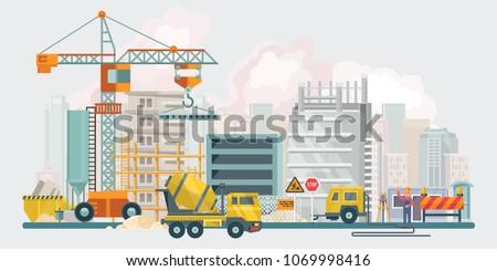 Budowy wyposażenie maszyn Cityscape wektora miasta Zdjęcia stock © robuart