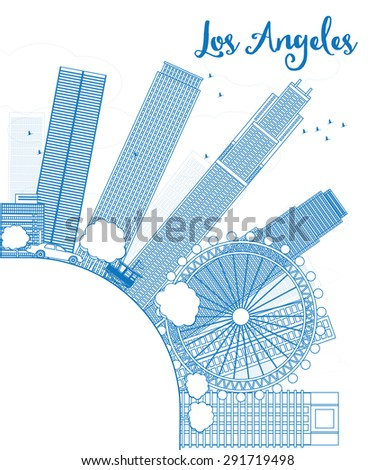 Outline Los Angeles Skyline with Blue Buildings and copy space Stock photo © ShustrikS