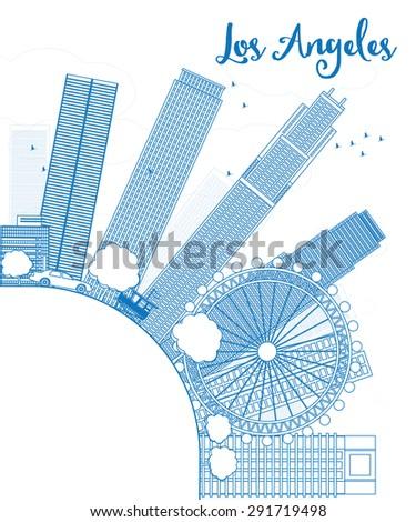 Schets Los Angeles skyline Blauw gebouwen exemplaar ruimte Stockfoto © ShustrikS