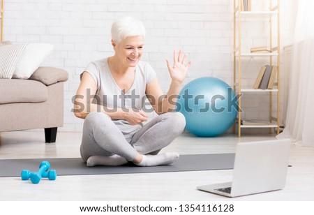 Blogger senior mulher especial exercício plano Foto stock © Illia