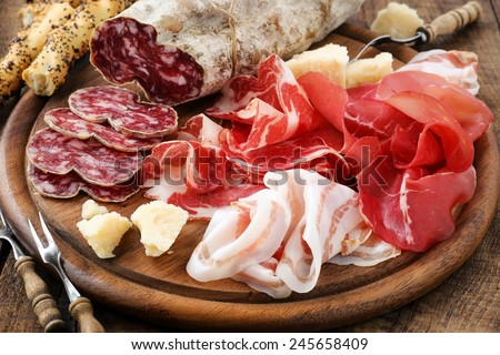 Meat, salami and prosciutto antipasto Stock photo © karandaev
