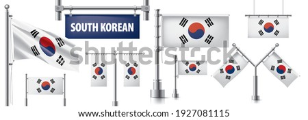 Vector set of the national flag of South Korean in various creative designs Stock photo © butenkow