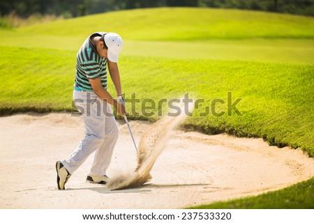 Golf Ball Hitting Bunker Sand Stock photo © albund
