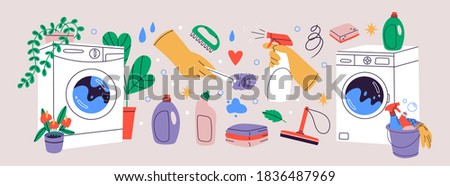 Cleaning hand drawn vector doodles funny illustration. Stock photo © balabolka