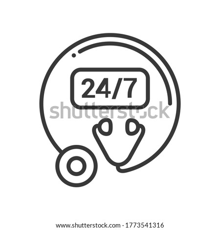 Clinic open 24 hours, 7 days - line design single isolated icon Stock photo © Decorwithme