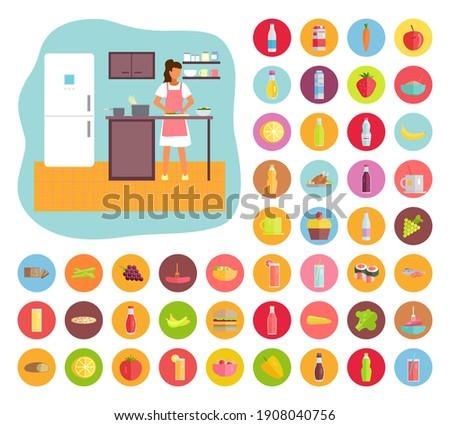Nő főzés konyha étel italok ikonok Stock fotó © robuart
