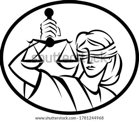 Dame justice poutre équilibre échelle rétro Photo stock © patrimonio