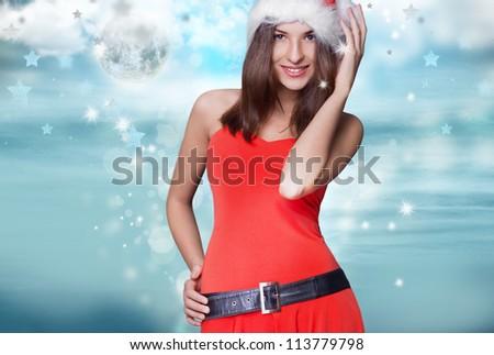 évek gyönyörű nő karácsony ruha pózol szürke Stock fotó © HASLOO
