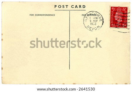 Vintage British postcard from 1938 with red King George VI stamp. Stock photo © latent