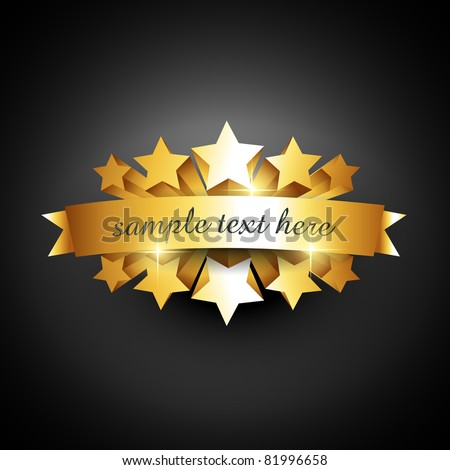 Beautiful Vector Label Sign With Stars And Gold Ribbon Stockfoto © PinnacleAnimates