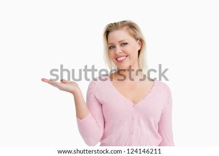 Mujer hermosa mano palma hasta blanco sonrisa Foto stock © wavebreak_media