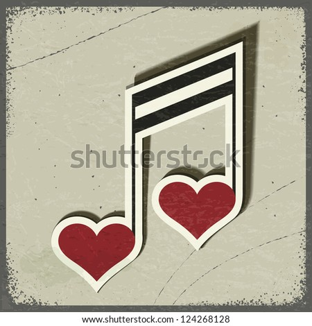 vintage postcard with musical sign in the form of hearts eps10 stock photo © larser