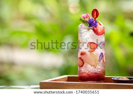 fresh tasty sweet strawberries and green lime outdoor in summer Stock photo © juniart