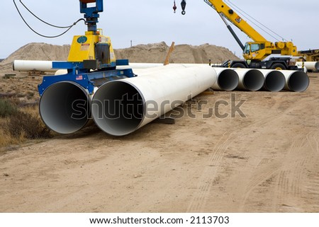 Specialized equipment for placing large diameter pipe in a trenc Stock photo © rufous