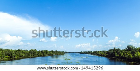 view to the river Mississippi with its wide river bed and untouc Stock photo © meinzahn