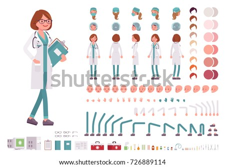Set of Cartoon Woman Doctor Character for Your Design or Animati Stock photo © Voysla