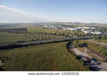 Highly detailed aerial city view with railroads, roads, factorie Stock photo © slunicko