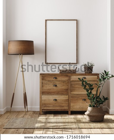 the mockup on wooden background with vintage old picture frame stock photo © master1305