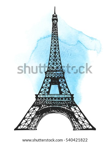 watercolor hand drawn illustration - Eiffel tower with ballons, lipstick marks and hearts  Stock photo © gigi_linquiet