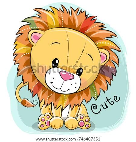 Cute Lion emotion Icon Illustration sign design Stock photo © kiddaikiddee