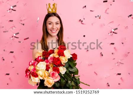 primo · piano · ritratto · bella · donna · fiore · bella · donna · sexy - foto d'archivio © deandrobot