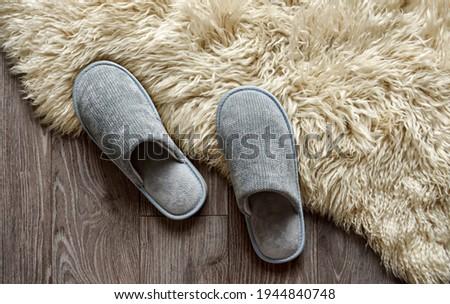 Mężczyzna stóp szary sypialni kapcie Zdjęcia stock © janssenkruseproducti