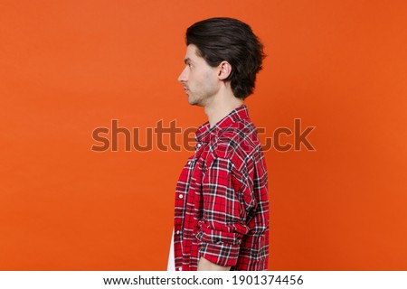 young handsome brunete man emotional posing on white background isolated, lifestyle people concept Stock photo © iordani