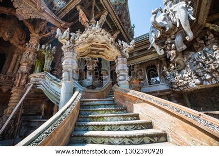 wooden statues at front of Sanctuary of truth in Thailand Pattay Stock photo © Wetzkaz