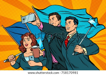 businessmen with smartphones and flags poster socialist realism stock photo © studiostoks