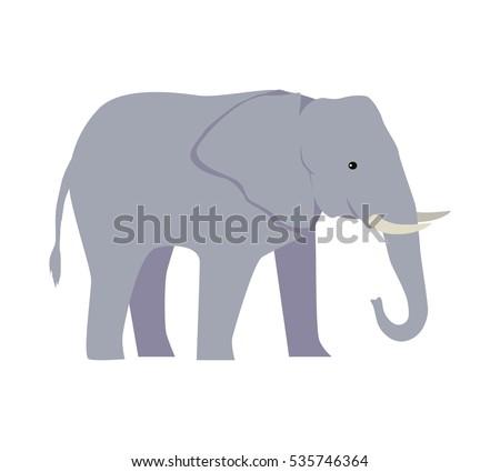 Vector desen animat elefant mare înapoi mamifer Imagine de stoc © NikoDzhi