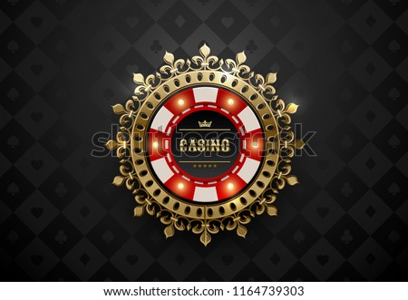 Stock photo: Vector red white casino poker chips with luminous light elements, top view. Retro purple effect