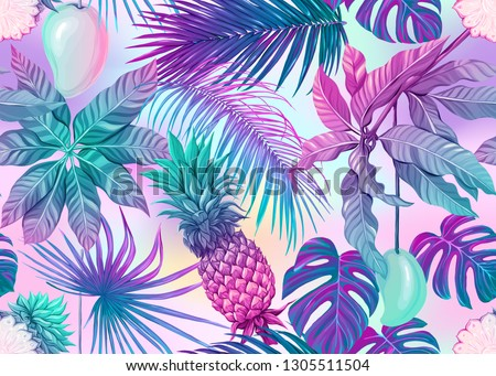 Stock photo: Ultra violet tropical palm leaves seamless pattern. Vector illustration.