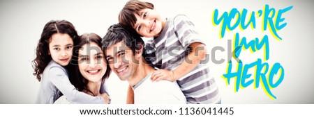 Közelkép kék szöveg enyém hős apa fia Stock fotó © wavebreak_media