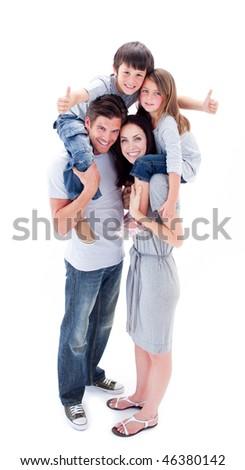 笑みを浮かべて 両親 子供 ピギーバック 青 ストックフォト © wavebreak_media