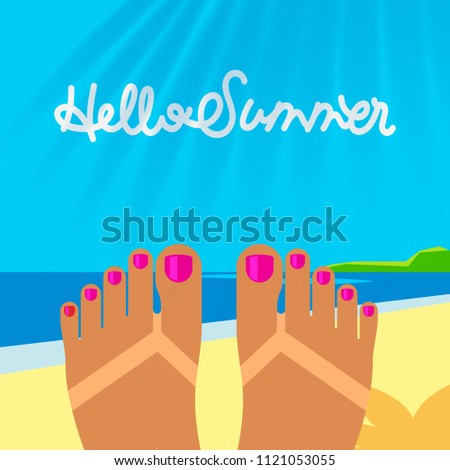 Summer vacation template with tanned woman s feet on the beach, vector illustration. Stock photo © ikopylov