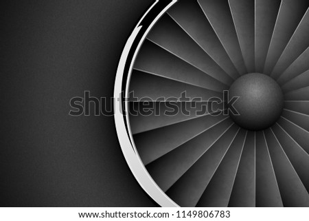 Jet Engine Turbine dark horizontal background. Detailed Airplane Motor with chrome metal ring Front  Stock photo © Iaroslava