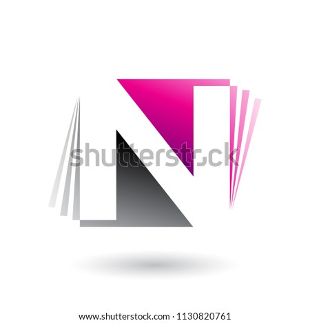 Magenta and Black Letter N with Vertical Stripes Vector Illustra Stock photo © cidepix