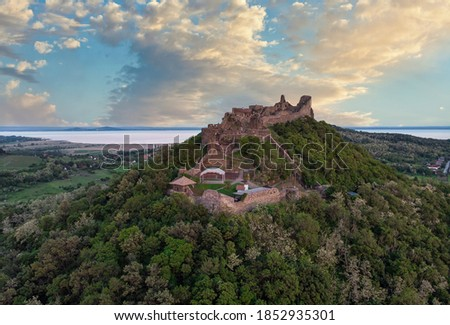 Drone picture from a beautiful ancient castle Szigliget in Hungary Stock photo © digoarpi