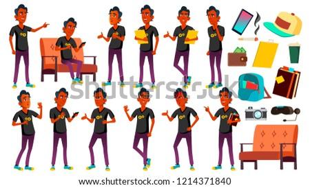 teen boy poses set vector indian hindu asian caucasian positive for presentation print invit stock photo © pikepicture