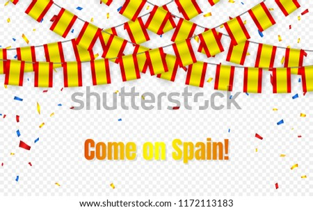 Spain garland flag with confetti on transparent background, Hang bunting for celebration template ba Stock photo © olehsvetiukha