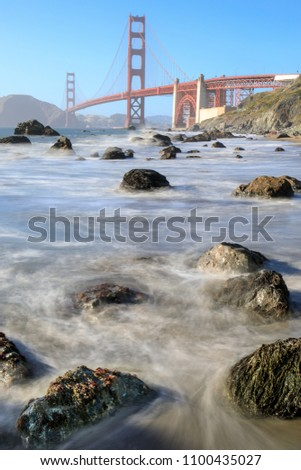 marshalls beach rugged shorefront with views of the golden gate bridge and marin headlands stock photo © yhelfman