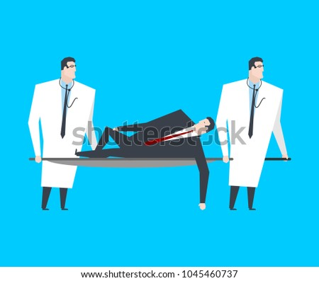 businessman carries boss on stretcher office life vector illust stock photo © maryvalery