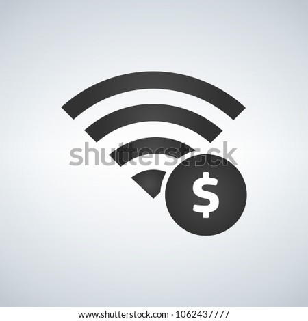 Stock photo: Wifi connection signal icon with money sign in the circle. vecto