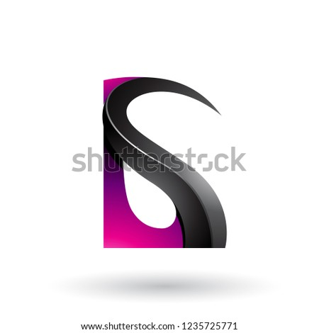 Magenta and Black Glossy Curvy Embossed Letter A Vector Illustra Stock photo © cidepix