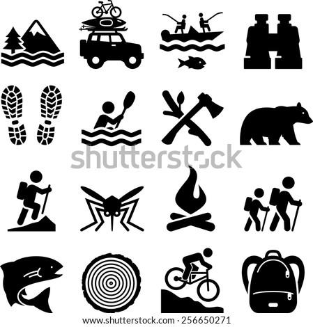 Establecer camping silueta iconos símbolos senderismo Foto stock © JeksonGraphics