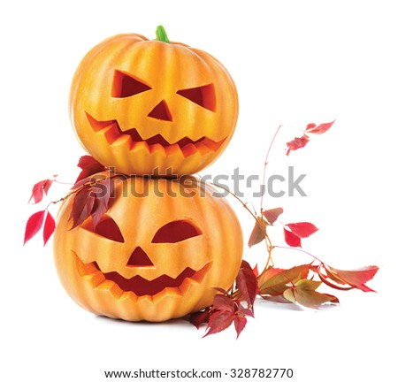 Two black ghosts and a burning candle isolated on white background. Vector cartoon close-up illustra Stock photo © Lady-Luck