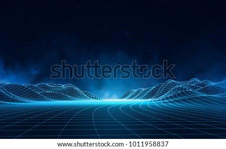 Черно-белые пейзаж вектора данные технологий волна Сток-фото © pikepicture